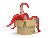 Red tentacles in a cardboard box isolated on white background 2 Stock Photography