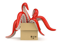 Red tentacles in a cardboard box isolated on white background Stock Images