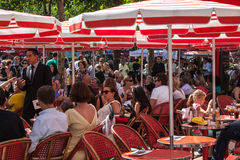 Red Terrace on Avenue des Champs Elysees Royalty Free Stock Photos