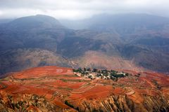 The red terrace of Yunnan, China Royalty Free Stock Photo