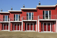 Red terraced house front-view Royalty Free Stock Photography