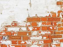 Red, Terracotta and White Brick Background. Old Wall of Red Bricks and White Brayed and Cracked Old Paint. royalty free stock photos