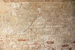 Red, Terracotta and White Brick Background. Old Wall of Red Bricks and White Brayed and Cracked Old Paint. stock images