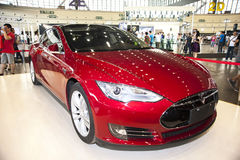 Red tesla car Stock Photography