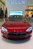 Red Tesla on Display in Columbus Circle in New York City Stock Images