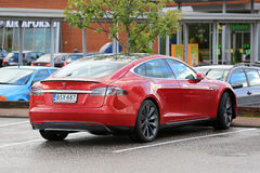 Red Tesla Model S P85D Electric Car Parked stock photos