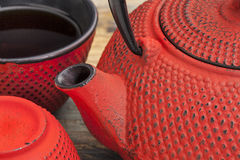 Red tetsubin with cups Royalty Free Stock Image