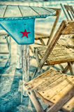 Red Texas Star on Blue Background Stock Photos