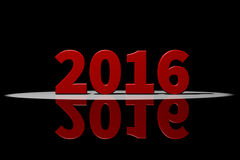 2016, red text, 3D Rendering with reflection Royalty Free Stock Image