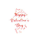 Red text on the day of lovers with branches and plants. Stock Photos