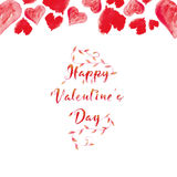 Red text on the day of lovers with branches and plants. Royalty Free Stock Photography