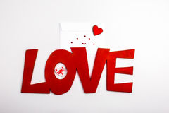 Red text font love lettering Stock Photo