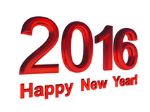 Red text - Happy New Year 2016, isolated. On white background Stock Images