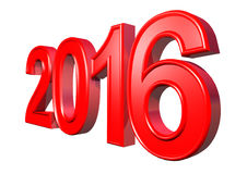 Red text - Happy New Year 2016, isolated. On white background Stock Photos