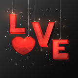 Red Text Love for Valentine`s Day celebration. Stock Photo