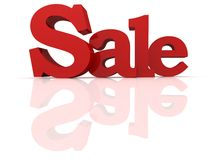 Red text SALE with reflection. 3d Stock Images