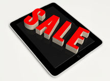 Red Text Sale on Tablet Stock Photo