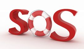 Red text SOS with lifebelt. On the white background Royalty Free Stock Images
