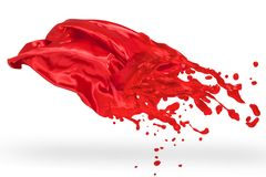 Red textile melted to liquid paint Stock Photography