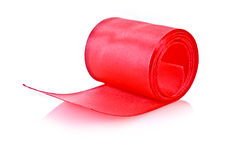 Red textile roll isolated Stock Photo