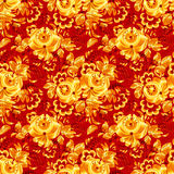 Red textile seamless pattern with golden flowers Stock Images