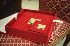 Red textile wedding photo book. Album Royalty Free Stock Image