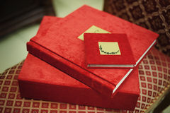 Red textile wedding photo book. Album Stock Photo