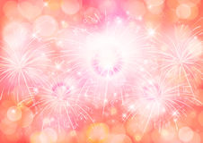 Red texture bokeh celebrated background and firework Royalty Free Stock Photography