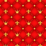 Red texture with crowns, lilies and buttons. Royalty Free Stock Image