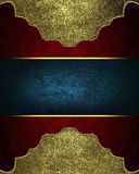 Red Texture With Gold Frame And Place For Text. Template For Design. Copy Space For Ad Brochure Or Announcement Invitation Stock Photo