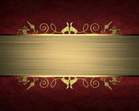 Red Texture With Gold Ribbon. Element For Design. Template For Design. Copy Space For Ad Brochure Or Announcement Invitation, Abst Royalty Free Stock Photos