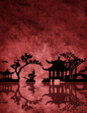 Red textured Asia landscape Stock Image
