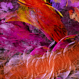 Red textured fractal. Red and lavender fractal resembling pressed flowers with a fine tissue paper texture Stock Photo