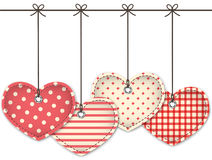 Red textured hearts Stock Image
