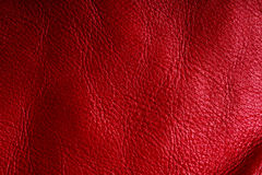 Red textured leather grunge background closeup Stock Photos