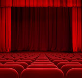 Red theater or cinema curtain or drapes Royalty Free Stock Images