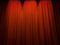 Red theater curtain. With pin spotlight silhouette Royalty Free Stock Images