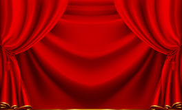 Red theater curtain. Computer illustration, isolated on the white Stock Photo