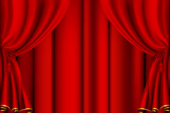 Red theater curtain. Computer illustration, isolated on the white Stock Images