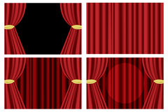 Red theater curtain. Set of four red theater curtain isolated on white background.EPS file available Stock Photos