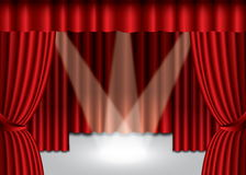 Red theater curtain. With spotlight on stage, EPS10 Royalty Free Stock Image