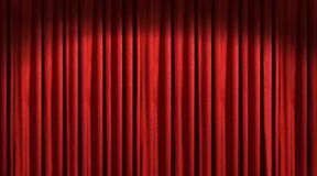 Red theater curtain. With dark shadows