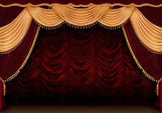 Red theater curtain stock photos