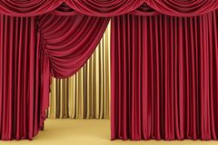 Red theater curtain, background Royalty Free Stock Images