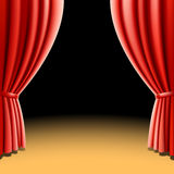 Red theater curtain on black background royalty free stock image