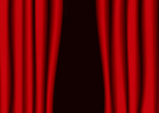 Red theater curtain gap Royalty Free Stock Photo