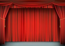 Red theater curtain with the stage. stock illustration
