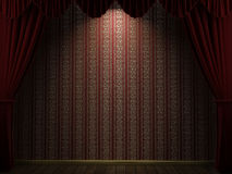 Red theater curtain with stripes wallpaper. Open theatre curtain showing a reed and gold wallpaper