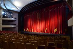 Red theater curtain. At the theater royalty free stock photos