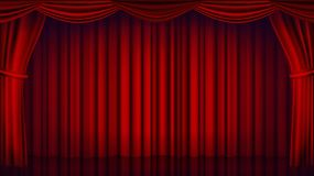 Red Theater Curtain Vector. Theater, Opera Or Cinema Closed Scene. Realistic Red Drapes Illustration. Red Theater Curtain Vector. Theater, Opera Or Cinema Empty vector illustration
